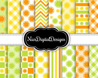 Buy 2 Get 1 Free-16 Digital Papers. Citrus Mixed Patterns (3C no 1) for Personal Use and Small Commercial Use Scrapbooking