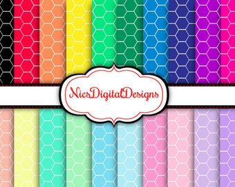 Buy 2 Get 1 Free-20 Digital Papers. Hexagons in RainbowColours (1D no 1) for Personal Use and Small Commercial Use Scrapbooking