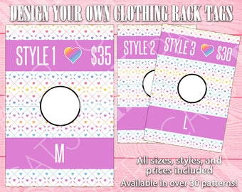 Clothing Rack Tags   Arrows and Hearts   Customize