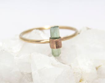 Raw Tourmaline Wrapped Statement Stacking Ring