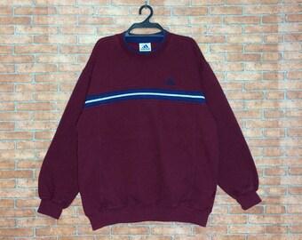 Rare!!! Vintage adidas 3striped Sweatshirt Vtg ADIDAS Spellout embroidery Pullover Crewneck M L size jacket