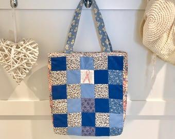 Blue Patchwork Tote | Market Tote | Pink Ribbon | Handmade Bag