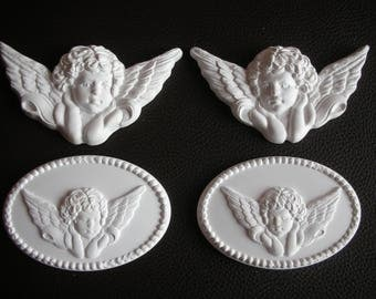 Set of 4 embellishments Angel Cherub Plaster cherubs White embellishments