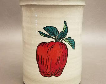 Vintage Red Wing Pottery Vase Canister with Painted Apple