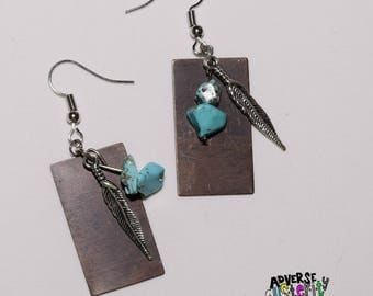 Brass  / Turquoise / Feather Layered Handmade Earring
