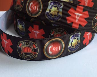 Police DepartmentInspired  Fire Department Paramedic 7/8 inch Grosgrain  BTY By the Yard  Fire Dept Ribbon First Responder One Sided Ribbon