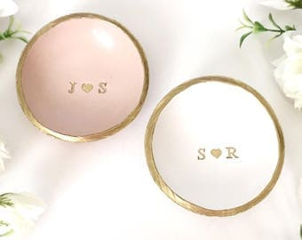 Personalized Ring Dish / Initials and Heart Jewelry Dish / Personalized Jewelry Dish / Engagement Ring Dish / Gifts for Her / Personalized