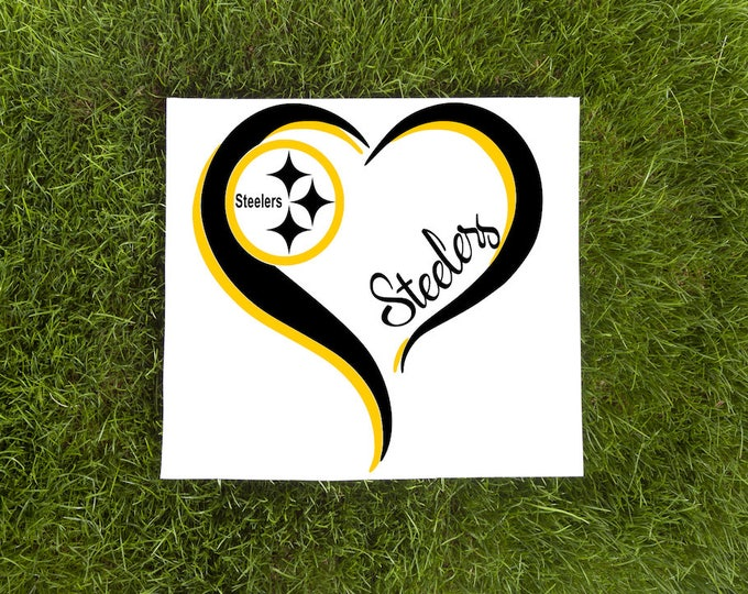 Steelers Double Heart Vinyl Decal-Love Vinyl Decal-Car Decal-Tumbler Vinyl Decal