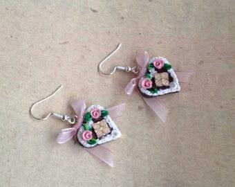 Earrings heart light pink with flower, gingerbread-heart, octoberfest