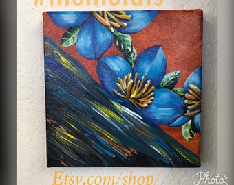 "Acrylic Flower Painting Tiltled ""Glisten"""