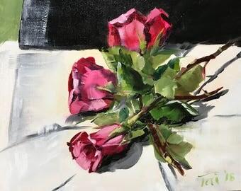 Valentine Roses on a White Napkin