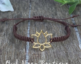 Macrame Bracelet with Lotus Flower Connector-Brown