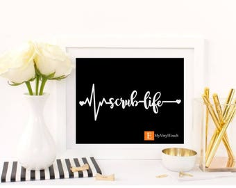 EKG decal, scrub life decal, nurse decal, doctor decal, Nurse week, Nurse Gift, Nursing student