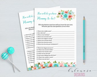 Mint How well do you know Mom Baby Shower Game Floral Mint Coral Baby Shower Activity Digital Shower Printable Baby Shower Flowers - CG011