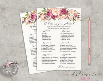 Floral Whats in your Phone Bridal Shower Game Download Bridal Trivia Pink Tribal Peony Bohemian Printable Bridal Shower Quiz - BG014