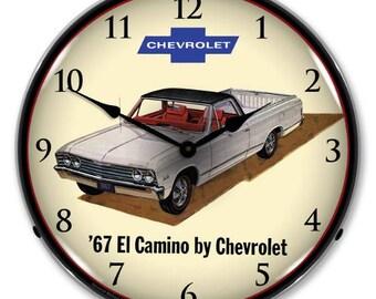 """Antique Style """" 1967 Chevrolet El Camino  """" Backlit Clock"""