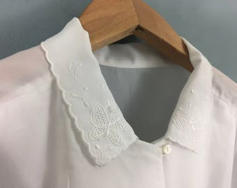 VINTAGE MARKS & SPENCER white lace collar blouse shirt top 14 butterflies