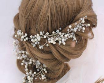 Wedding Hair Vine Bridal Hair Halo Crystal Pearl Hair Vine Beaded Hair Accessories Ivory Pearl Headpiece Beaded Headband Long Hair Vine