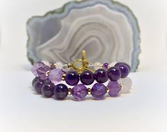 Amethyst bracelet Purple bracelet, Violet bracelet, Rose Quartz bracelet