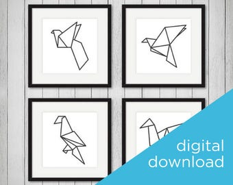 Origami Birds, Digital Download Set of 4, Home Decor, Office Decor, Digital Prints, Black and White, Wall Decor, Wall Prints, Art