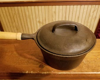 Vintage cast iron pot with lid and wood handle, heavy cast iron pan made in Taiwan  Christmas gift