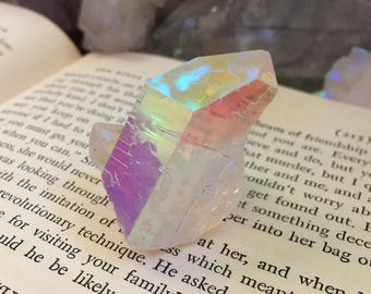 Glowing opal angel aura Quartz cluster
