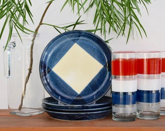 mikasa potters' art salad plates; Ben Seibel Design Free Style; blue and white stoneware plates set of 4