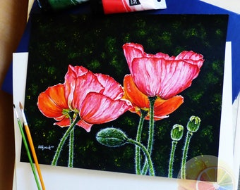 """Poppy, Poppies Painting, Flower Painting, 11""""x14"""", Acrylic on watercolor paper, original hand painted artwork, home wall decor"""