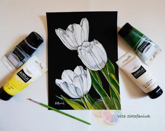 """Tulips, White Tulips, Tulips Painting, White Flowers, 11""""x8"""", Acrylic on watercolor paper, original hand painted artwork, home wall art"""