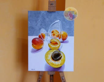 Apricots, Apricot painting, Glass painting, Fuit art, 40x30 Centimeters, Original Signed Artwork On Canvas, Kitchen Art, Dining Room Decor