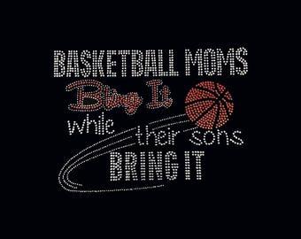 "Basketball, Basketball Moms Bling It (7.5x10.5"")  Rhinestone Bling on Black T-Shirt -  Customize Add your Name etc."