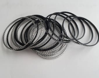 Set of 22 Black and silver Retro Bangles