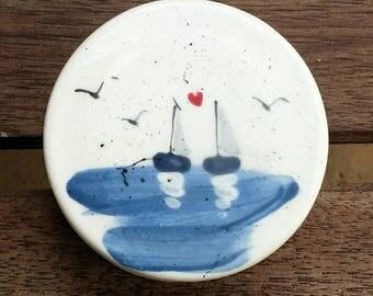 Hand Painted ceramic round box