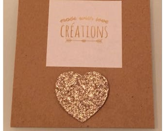 """Put glitter in your life with fabric glitter micropaillettes """"heart"""" gold plated brooch"""