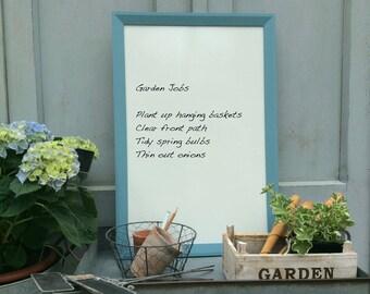 SALE. Framed notice board. Housewarming gift. Framed whiteboard Blue bulletin board Kitchen memo board Kitchen notice board Large whiteboard