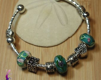 Bangle Bracelet European style with PAND31 turquoise murano lampwork beads and metal charms