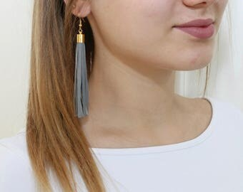 Leather tassel gray color earrings, tassel with gold or silver color elements