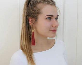 Red leather tassel earrings, tassel with gold color elements
