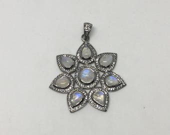 White topaz  moonstone sterling silver pendant
