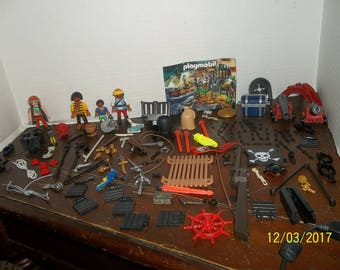 huge lot geobra playmobil people spare parts replacement pirates treasure chest accessories