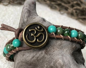 Blue and Green Beachy Boho Leather Bracelet with Brass OM