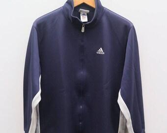 Vintage ADIDAS Trefoil Small Logo Sportswear Blue Zipper Jacket Size L