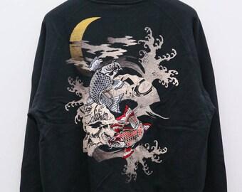 Vintage SUKAJAN Japanese Fish Koi Souvenir Black Embroidery Sweater Sweatshirt Size XL