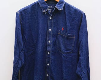 Vintage POLO By Polo Ground Blue Flannel Shirt Oxford Size M