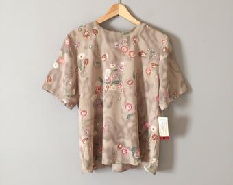 Eva Laurel blouse // sea foam green botanical blouse // new old stock