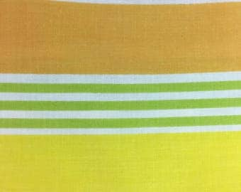 Vintage Sheet Fabric / 82x94 / gold, white, yellow and green stripe / reclaimed fabric / quilting / sewing / poly cotton