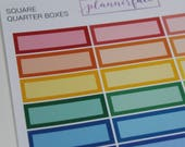 Square Quarter Boxes | Multicolour Rainbow Functional Stickers for Erin Condren (M018)