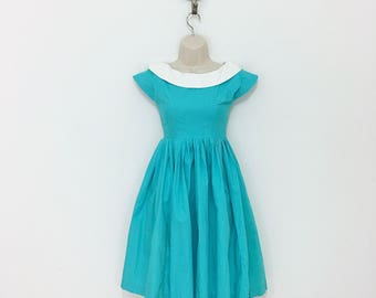 Vintage 1950s Teal Cotton Swing Dress Petite XXS