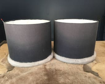 Lampshade in wool and real mink fur pipping.