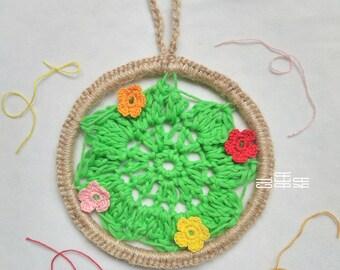 Dream catcher, Boho decor, Wall Hanging, Doily crochet flower, Home decor, Small bochemian dreamcatcher,  Dorm decor